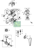 Запчастини до бензинового культиватора Oleo-Mac MH 130